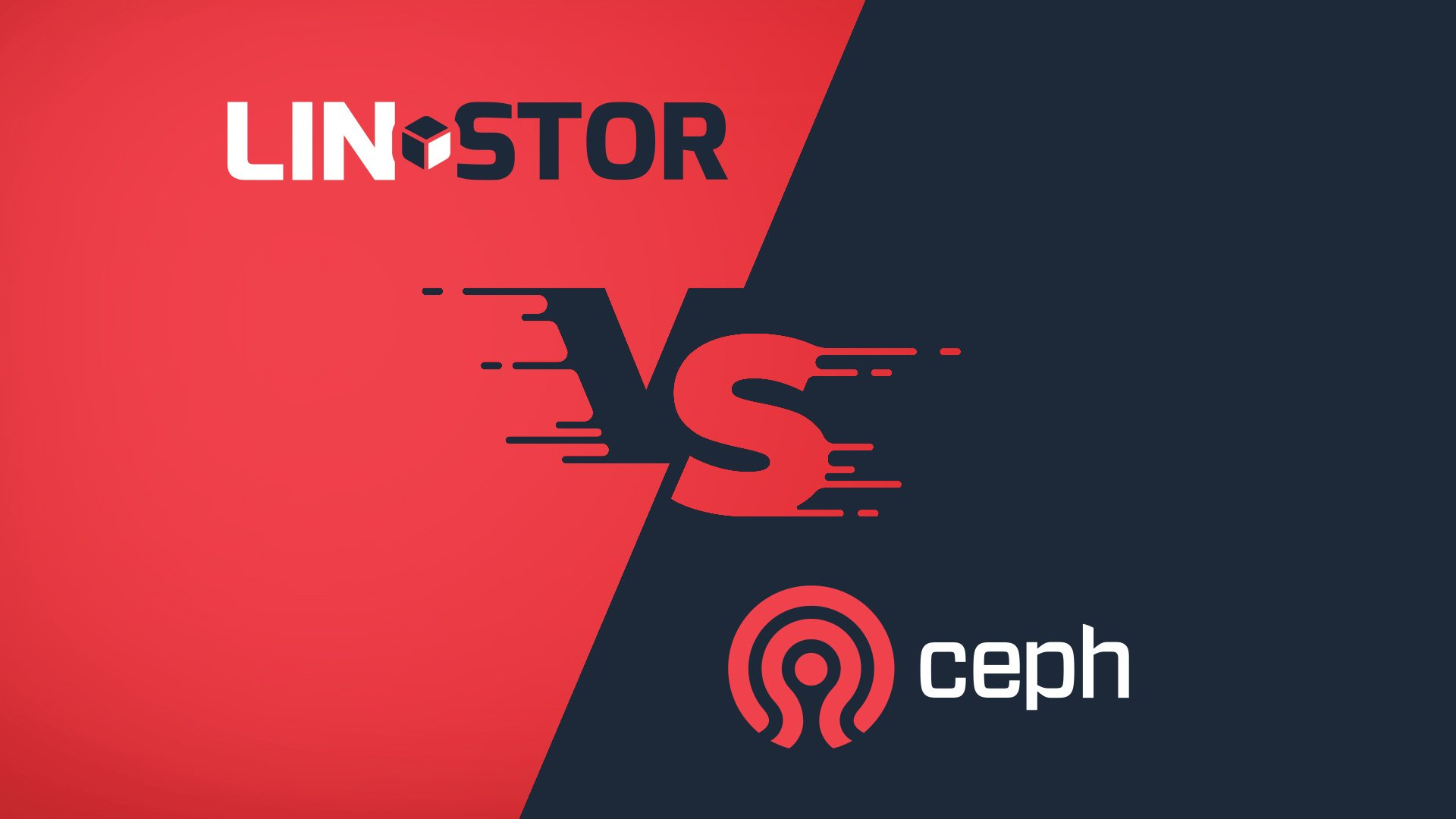 linstor vs ceph logos in black and red background